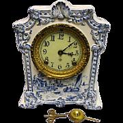 """SALE PENDING Ansonia Mantel Clock - """"Pawnee"""" - Ceramic - Delft Blue Scenic Case - Cl"""