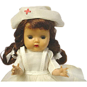 Nancy Ann Storybook Muffie Brunette Braid Doll Tagged Nurse Outfit