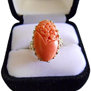 SOLD CORAL Ring - Natural, Genuine Gem - Floral Carved - Heavy & Large 14k Yellow Gold Cro