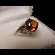 Hessonite Garnet Ring - 1.79 Carat - Cushion Cut - Vintage 14k White Gold Filigree