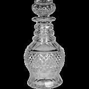 Fine Circa 1850 English Hand Blown & Cut Glass Spirit Decanter
