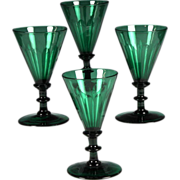 Exceptional Set Of Four Circa 1820 Hand Blown & Cut Green Glass Wines