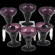 Rare Set of Circa 1820 English Amethyst Glass Rummers