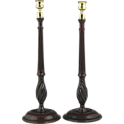 Fantastic Pair of Circa 1780 English Turned Mahogany Candlesticks