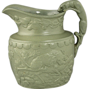 Rare and Fine Circa 1835 Ridgway Relief Moulded Jug Hunt Motif with Figural Hound Handle