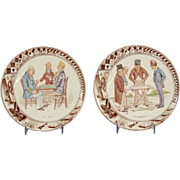 Two 19th Century Sarreguemines Pottery Plates Transfer Decorated with Popular Card Game Motifs