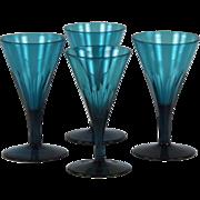 Superb Set of Four Late Georgian Hand Blown Peacock Blue Wine Glasses