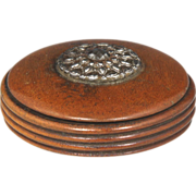 Fine Regency Boxwood Snuff Box with Cut Steel Decoration