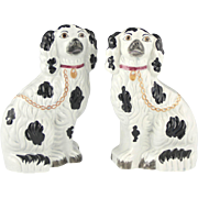 Charming Pair of Circa 1860 Staffordshire Pottery Spaniels Comforters