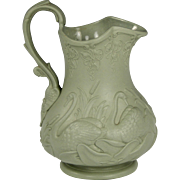 Wonderful Circa 1852 English Ridgway Relief Moulded Molded Pottery Jug in Swan and Bulrush ...