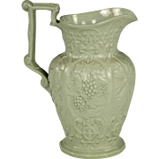 SOLD Unusual English Pottery Relief Moulded Jug with Wheat Sheaves, Grape Clusters and Hops da