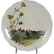 Charming Circa 1885 Brown, Westhead, Moore & Co. Porcelain Plate with Quail Motif