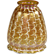 Quezal Gold Iridescent Art Glass Lamp Shade in Rare Snakeskin Pattern