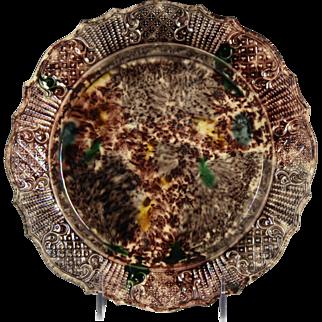 Fine Circa 1760 Whieldon Ware or Tortoiseshell Ware Press Moulded Creamware Plate