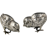 Two Charming Edwardian English Silver Chick Peppers Pepperettes Hallmarked for William Edward