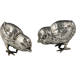 Two Charming Edwardian English Silver Chick Peppers Pepperettes Hallmarked for William Edward Hurcomb London