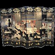 Black Oriental 8-panel Illustrated Screen Room Divider