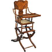Antique Victorian Oak Press Back Rocker Collapsible High Chair