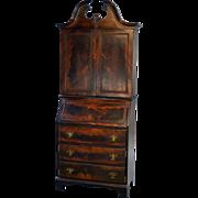 Mahogany Slant Top Bar Cabinet Disguised like a Desk