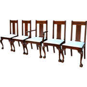 Set of Five Formal Mahogany Inlaid Dining Chairs