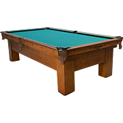 Antique Brunswick Quarter Sawn Oak Inlaid Pool Table