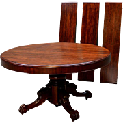 """Gorgeous 54"""" Split Pedestal Ball & Claw Mahogany Dining Table w/3 leaves"""