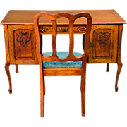 Carved Oak Flat Top Desk with Chair