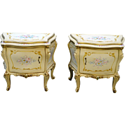 Rare Pair of Bombay Hand Painted Decorated French Nightstands!