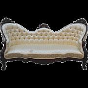 Antique Victorian Civil War Era Carved Walnut Sofa