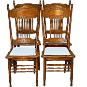 Antique Set of 4 Larkin #1 Press Back Chairs