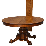 Antique Victorian Large Bulbous Base Oak Round Dining Table with Claw Feet