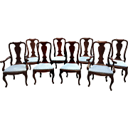 Set of Eight Chippendale Dining Room Chairs – Twin Arms
