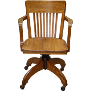 Vintage Oak Lawyers Office Desk Chair