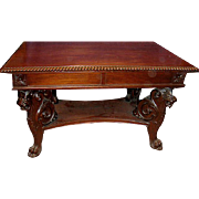 Antique Mahogany Carved Griffin Library Table Possibly R.J. Horner