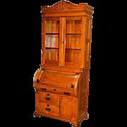 Antique Oak Cylinder Secretary Desk