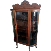 Antique Oak Curio / China Cabinet