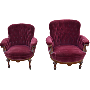 Pair of Barrel Front Upholstered Overstuffed Parlor Chairs