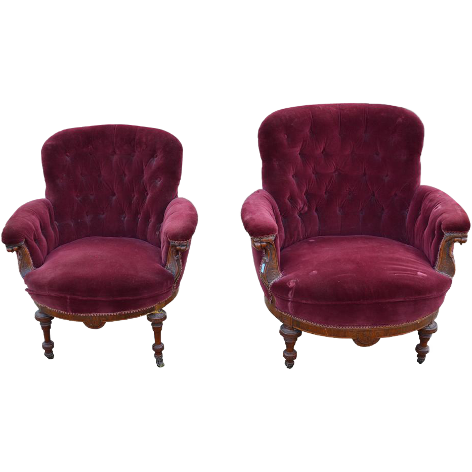 Pair of barrel front upholstered overstuffed parlor chairs for Overstuffed armchair