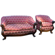 Victorian Two Piece Comfortable Parlor Set with Lions Heads!!