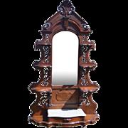 Victorian Pierce Carved Marble Top Burl Walnut Étagère- Civil War Era