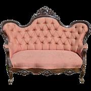 Victorian Civil War Hand Carved Rosewood Sofa