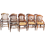 Set of 9 Victorian Walnut Dining Chairs
