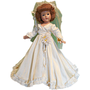 "18"" Composition Effanbee Little Lady Bride All Original"