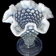 SALE Fenton Hobnail Opalescent Glass Vase Ruffled Edge