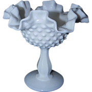 SOLD Fenton Glass Hobnail Milk Glass Compote
