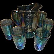 SALE Indiana Glass Pitcher and Six Glasses Grape Pattern Blue
