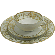 SALE Nippon Moriage Cup, Saucer and Plate Set 22K Gold
