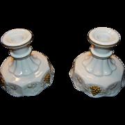 Westmoreland Paneled Milk Glass Grape Candle Holders
