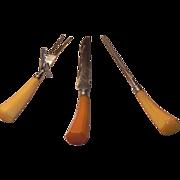 Vintage Carving and Knife Sharping Set Butterscotch Handles