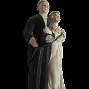 SALE Vintage Bride and Groom Wedding Cake Topper